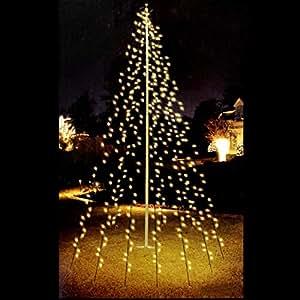 Multistore 2002 fahnenmast lichterkette 192 led s 6 str nge a 208cm warmwei es licht f r - Weihnachtsdekoration aussen ...