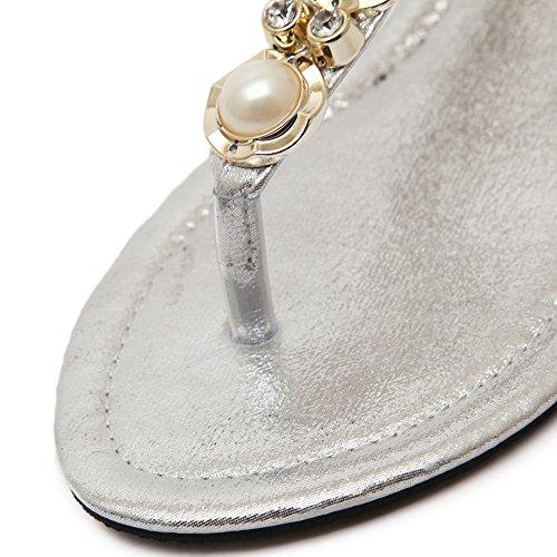 Weweya Femmes Strappy Strap Pearl Flat Jewelled Sandales Argent