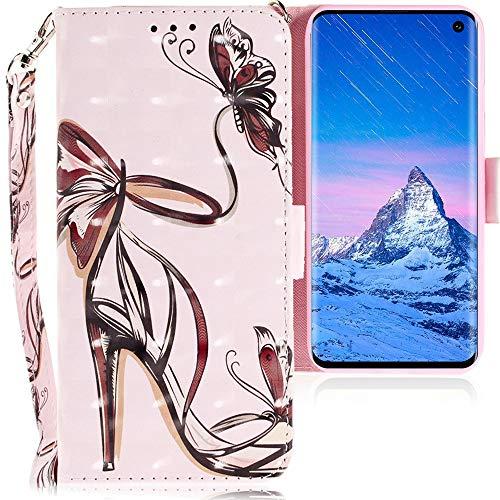 Preisvergleich Produktbild CLM-Tech Hülle kompatibel mit Samsung Galaxy S10 - Tasche aus Kunstleder - Klapphülle mit Ständer und Kartenfächern,  Damenschuh Schmetterling rosa