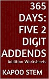 365 Addition Worksheets with Five 2-Digit Addends: Math Practice Workbook (365 Days Math Addition Series 17) (English Edition)