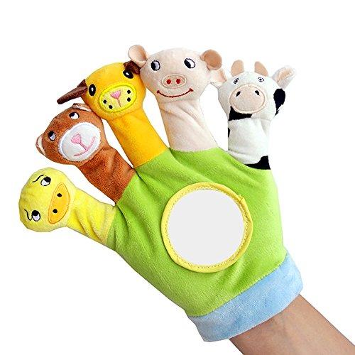 Ssowun fletion Finger Tier Spielzeug Handpuppe Spielen Puppe zum Finger niedlich aus Tier für Baby Kinder Puppe, Handpuppe Bildungs-Spielzeug, grün (Handpuppen Und Marionetten)