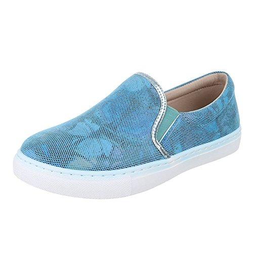Damen Schuhe, LB930-1, HALBSCHUHE SLIPPER Blau 2314-Y-