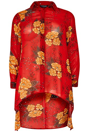 Yours Clothing - Chemisier - À Fleurs - Manches Longues - Femme red