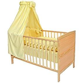 TecTake Cama de bebé con dosel cuna infantil madera amarillo