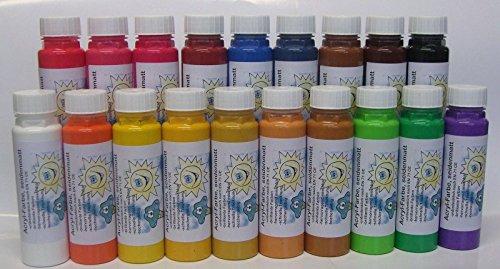 19er Set ACRYLFARBE seidenmatt - Malfarbe Künstlerfarbe: 19 x 300 g, 19-fach sortiert, 19 verschiedene Farbtöne - brilliante Farben - hervorragend mischbar - schnelle Trocknung - hochergiebig - Qualität aus deutscher Produktion