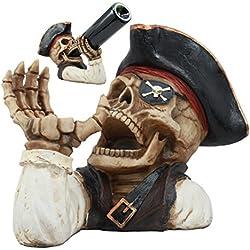 Evil Dead Sea Esqueleto Diente de Oro de Capitán Pirata para Botella de Vino Soporte Figura Decorativa