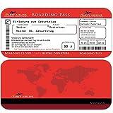 Einladungskarten Geburtstag als Flugticket (+ Ihren Daten und Texten) in Rot Geburtstagseinladungen 20 30 40 50 60 70 Einladung)