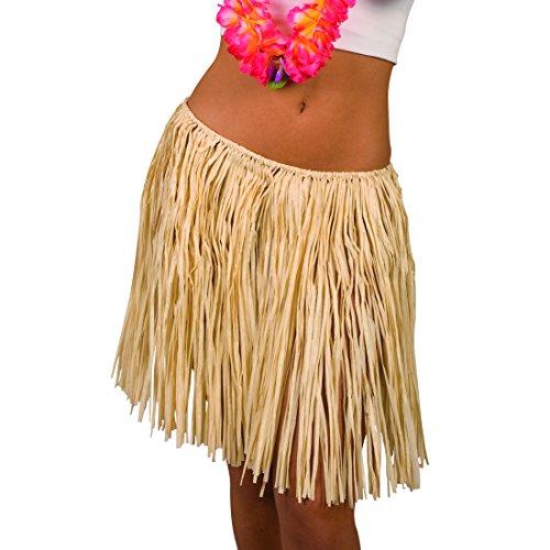 Amakando Baströckchen - beige, 45 cm - Langer Hula Rock Aloha Partyrock Hawaii Party Outfit Hawaii Kostüm Damen Langer Hula Rock (Langer Hula Rock)