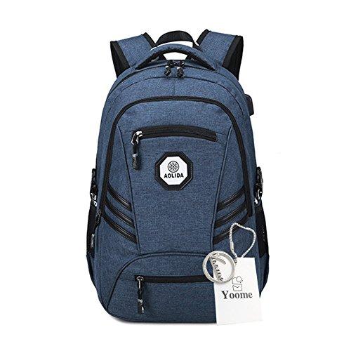 Sacs à dos d'ordinateur portable d'Anti-vol de Yoome avec le port USB de chargement Sac d'école résistant à l'eau d'école pour le sac à dos de voyage d'université pour 15.6 ...