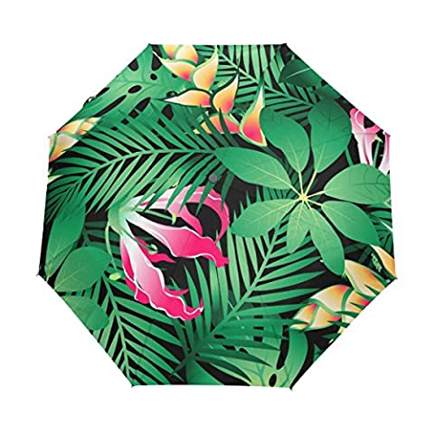 BENNIGIRY Tropical Hawaiian Plumeria And Hibiscus Flowers Automatic 3 Folding Parasol Sun Protection Anti-UV Umbrella for Women