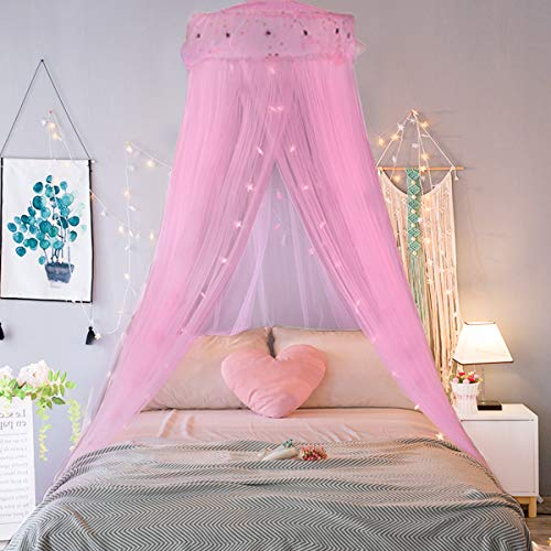 Jevetan Mosquiteras para cama princesa mosquiteros para cama mosquitero de dosel mosquitera decorativa para niños y niñas adecuado para cama individual / cama individual / cama king / cama queen
