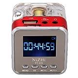 Andoer Mini Digital Portátil Altavoz Reproductor de música MP3/4Micro SD/TF USB disco Radio FM con antena telescópica y auriculares salida funciones rojo