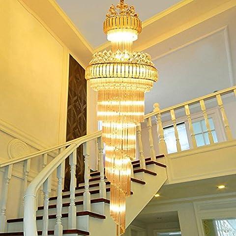 Lustre à LED en cristal, salon de villa, escalier, lampe suspension, éclairage de l'hôtel , 80cm
