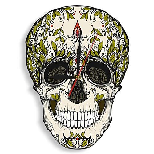 Wanduhren,Uhren,Wecker Tag Des Toten Zuckerschädels Skeleton Blumen Dia De Los Muertos, Die Nicht Mexikanische Traditions-Grafik Halloweens Ticken Kann Gut Dekorieren Home Office Kaffee Bar Hotel (Dia Muertos-traditionen Los De)
