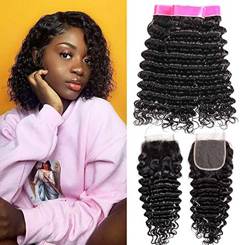 9A Human Hair Bundles with Closure Curly Hair Waves Brazilian Hair 3 Bundles with Closure Deep Curly Wave Bundles with Closure Super Qualität Brasilianische Haare 10 12 14+10 Zoll Echthaar Tressen