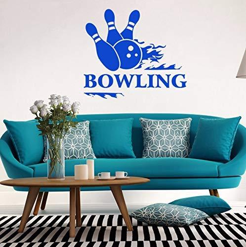 57X50 Cm Persönlichkeit Vinyl Aufkleber Wandaufkleber Bowling Sport Entertainment Center Wandbild Blau