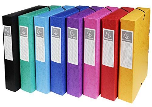Exacompta 50600E Packung (mit 8 Archivboxen aus Manila Karton, DIN A4, mit Gummizugverschluß, Rücken 60mm) farbig sortiert, 8 Stück