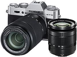Fujifilm X-T10 Fotocamera Digitale con Doppio Obiettivo XC16-50 MM F3.5-5.6 OIS II e XC50-230 MM F4.5-6.7OIS II, 16 Megapixel, Sensore CMOS X-Trans APS-C, Ottiche Intercambiabili, Argento