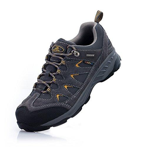 TFO Herren Wasserabweisende Trekkingschuhe & Wanderschuhe Atmungsaktive Bergschuhe & Outdoor Schuhe mit Anti-Rutsch-Sohle, Dunkel Grau, 44 EU