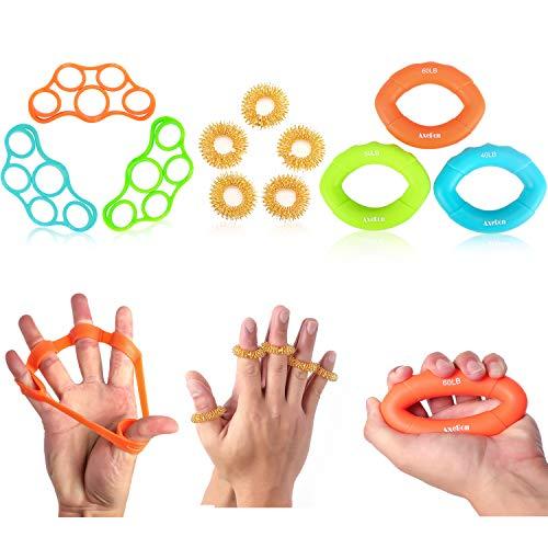 AxeBon 11 PCS Fingertrainer Handtrainer, Hand Verstärker Grip Ringe für Athleten Klettern Musiker Stress Relief & Verletzungen Rehabilitation