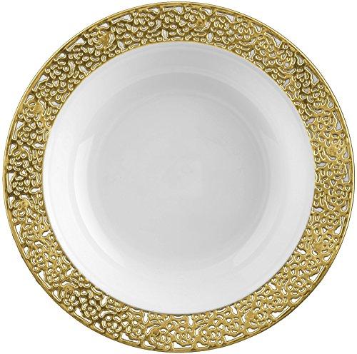 Decorline- Vaisselle de luxe à usage unique-Blanc avec bord en dentelle en Or -plastique rigid-Party-Jetable (Assiette creuse 400ml)
