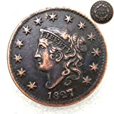 FKaiYin 1827 Antike Liberty One Cent Replik Old Coin American Lucky Old Coin - US Old Coins - Unzirulated Hobo Nickel USA Morgan Dollar Münze Future Experience -