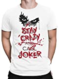 vanVerden Herren Fun T-Shirt Keep Calm Stay Crazy Call Joker Comic Fan Plus Geschenkkarte, Größe:5XL, Farbe:Weiß