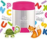 Mummy Cooks - Insulated Children's Food Flask 300ml (Pink) - FREE STICKERS