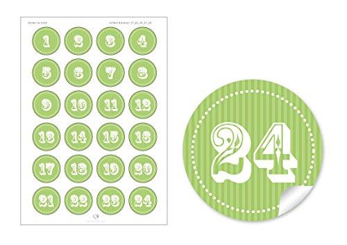 24Calendrier de l'Avent chiffres en vert blanc • selbstglebende décoratif pour calendrier de l'avent de Noël soi-même bricolage • Sticker/Autocollant/étiquettes (Format 4cm, rond, mat)