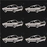 Schwarzes Wachstuch echino Ni-Co mit naturfarbenen Autos