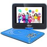 """ieGeek Lecteur DVD Portable 12.5"""" avec Écran Pivotant Compatible Carte SD et USB Chargeur de Voiture et les formats Compatibles avec MP3/ MP4/AVI/RMVB/TXT/JPEG - Bleu"""