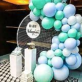 PuTwo Blau Weiße Luftballons 60 Stück Luftballons Matt Satz von Luftballon Türkis Pastellblaue Luftballons Luftballons Weiß, Latexballons für Baby Shower Junge, Taufdeko Junge, Deko Geburtstag Junge
