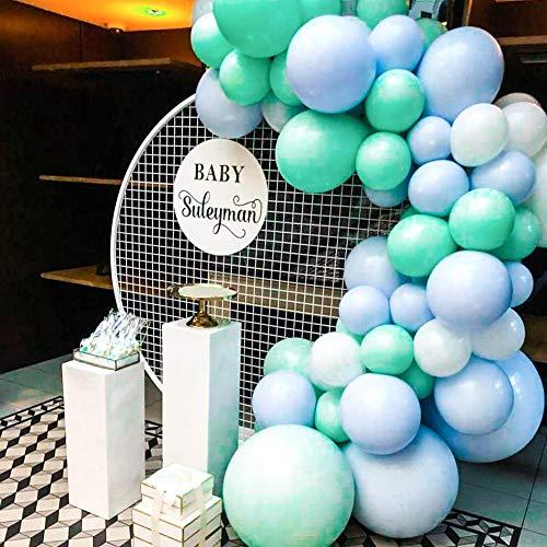 PuTwo Globos Azules y Blancos 60 Piezas 10 Pulgadas Globos Verde Azulado Globos Turquesas Globos Azules Globos Blancos para Decoraciones de Baby Shower para Niño, Baby Shower Azul, Cumpleaños de Boy