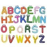 Kinderspielzeug Lernspielzeug Kühlschrank-Magnete Pädagogisches Magnetspielzeug für Kinder Kleinkind Lernspiel Magnetspiel Buchstaben Zahlen Kinderspiel 26 Stück Holz Spielzeug zur Frühentwicklung