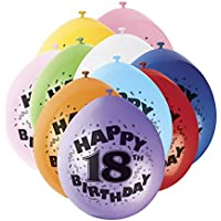 Unique Party - 80310 - Ballons Gonflables - Happy 18th Birthday - Latex - 23 cm - Coloris Aléatoire