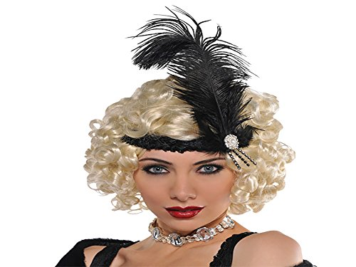 Amscan Glamorous 20's Old Hollywood Themed Party Black Charlston Feather Headband Accessories, Fabric, 10