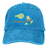 CrownLiny Green Baby Bird Adjustable Ball Cotton Washed Denim Caps Navy