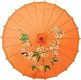 Chinesischer Sonnenschirm Dekoschirm aus Kunstseide Ø 84cm Orange / Kirschblüten
