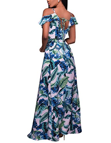 MODETREBD Damen Sommerkleid mit Blätter Drucken VAusschnitt Schlinge  Schlitz Abendkleid Strandkleid Elegante Kleider Weiß