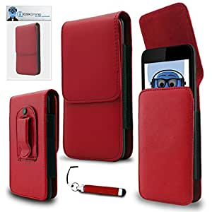iTALKonline HTC One E8 Ace Red PREMIUM PU Leather Vertical Executive Side Pouch Case Cover Holster with Belt Loop Clip and Magnetic Closure and Re-Tractable Captive Touch Tip Stylus Pen with Rubber Tip