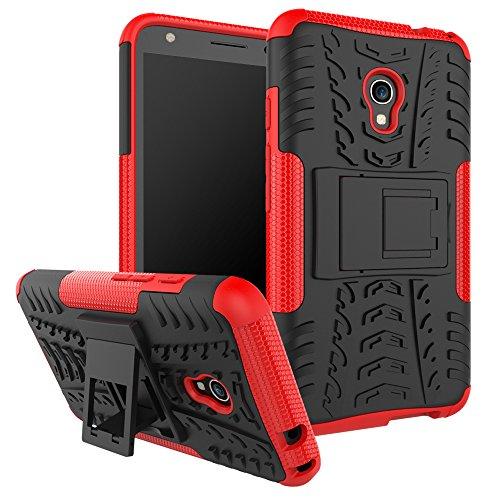 """SsHhUu Funda Alcatel Pixi 4 (5), Heavy Duty Amortiguamiento Cubrir Doble Capa Combinación de Armadura con Soporte Protector Cubrir Case para alcatel Pixi 4 (5) (5.0"""") Rojo"""