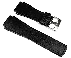 Junghans Mega 1000 Ersatzband Uhrenarmband Leder Schwarz 42050-4858 026/4510.00