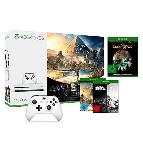 Xbox One S 1TB Konsole - AC Origins Bundle inkl. TCs Rainbow Six: Siege, Sea of Thieves & 2 Xbox Controller