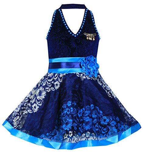 Mpc Cute Fashion Baby Girl's Velvet and Soft Net Frock Dress for (Sky, 2-3 Years)