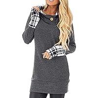 Hanomes Damen pullover, Damen Langarm-Hoodie mit Plaid Manschetten und Sweatshirt Hood Tops preisvergleich bei billige-tabletten.eu