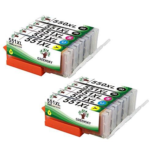 GREENSKY 10 Farben Kompatibler Ersatz für Canon PGI-550XL CLI-551XL Tintenpatronen für Canon Pixma MG5400 MG5450 MG5550 MG5650 MG7150 MG7500 MG7550 MG6350 MG6450 MG6650 MX725 MX925 MX920 IX6850 IP7150 iP7200 iP7250 IP8750 - 10 Pack (2 PGI-550 Schwarz, 2 CLI-551 Schwarz, 2 Cyan, 2 Magenta, 2 Gelb)