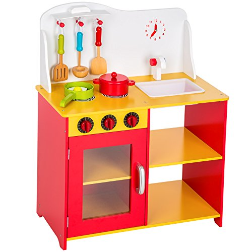 TecTake Wooden childrens kitchen cooking toys learner set - different colours - (Yellow Red)