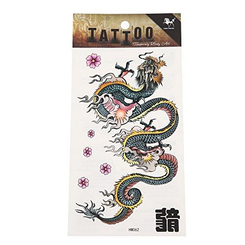 Preisvergleich Produktbild Klebetattoo Chinesischer Drache kunstvoll groß Blumen rosa 7 Motive 1 Bogen Tattoo