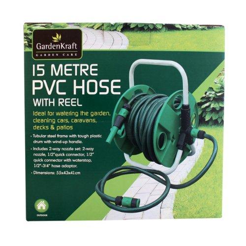 Benross GardenKraft–Schlauch PVC 15m auf Spule & Halterung