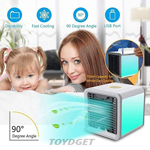 TOYDGET Portable Mini Air Cooler Arctic Air Conditioner with Soothing 7 Colors LED Light Humidifier for Home and Office